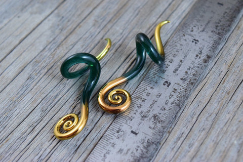 Gold Tipped Sparkle Glacier | Mini Drop Spirals | 14G - 00G