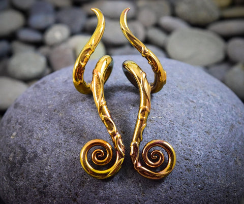 Carved Gold | Drop Spiral Curls | 6G - 0G