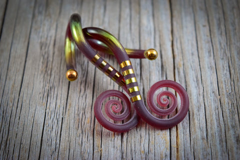 Textured Gold Garnet | Drop Spiral Curls | 8G - 0G