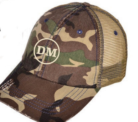Dave McElroy Camo hat with Green Embroidered DM patch