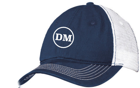 Dave McElroy Navy and White Distressed Mesh Cap