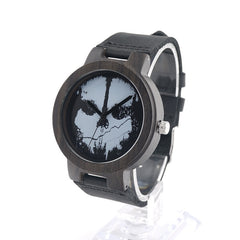 Men's Halloween Skull Wooden Wristwatch Black Wooden Case Quartz with Leather Strap - Ace Gift Shop