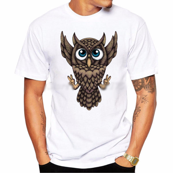 Cool Cartoon Owl Peace Sign T-shirt - Ace Gift Shop