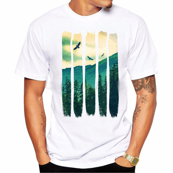 Cool Pines Eagles Mountain T Shirt For Males Blue, Green, Yellow - Ace Gift Shop
