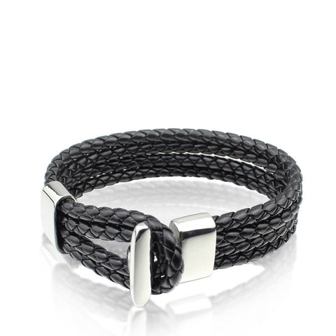 Classic Black Leather Braided Bracelet Sliver Claps - Ace Gift Shop