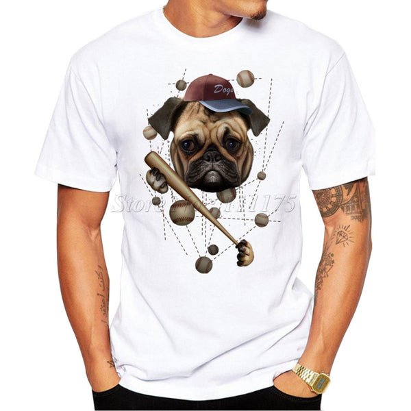 Pug Puppy Baseball Casual White  T-shirt - Ace Gift Shop