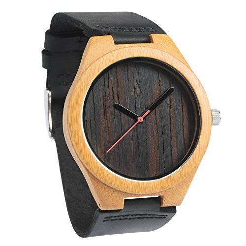 Mens Wooden Wenge Bamboo Watch with Genuine Black Leather Strap Quart...