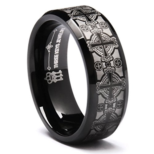 3 KingsTungsten Wedding Ring Laser Engraved Celtic Crosses Black Wedding Band Ring