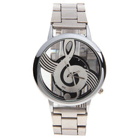 Modern Sleek Silver Link Music Note Clear Face Watch Men or Women - Ace Gift Shop