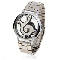 Modern Sleek Silver Link Music Note Clear Face Watch Men Or Women