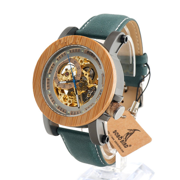 Brand Luxury Automatic mechanical Casual Watch Men Skeleton Bamboo Wooden With Steeling In Wooden Gift Box