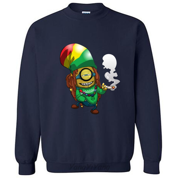 Bob Marley Reggae Weed Minions hoodies 2017 new arrived mens sweatshirts