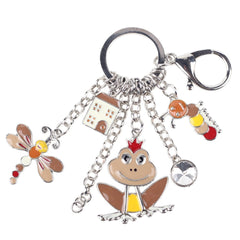 New Frog Butterfly Caterpillar Animal Key Chain For Women Girl Bag Keychain Charm Jewelry Aceessories