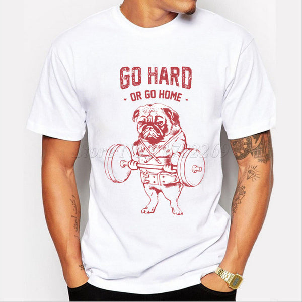 Men's Pug  T-Shirt Go Hard or Go Home