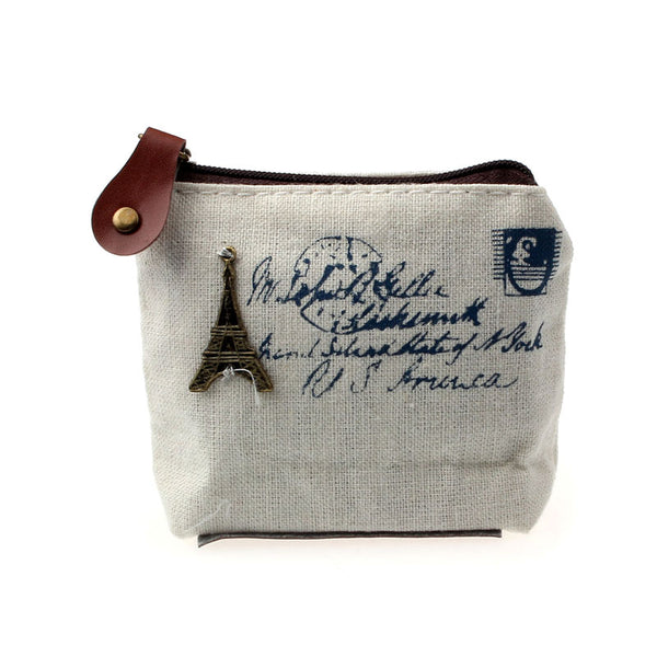 Travel Post Card Theme Charm Coin Purse