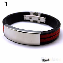 Mens Rubber Band  Stainless Steel Bracelet - Ace Gift Shop
