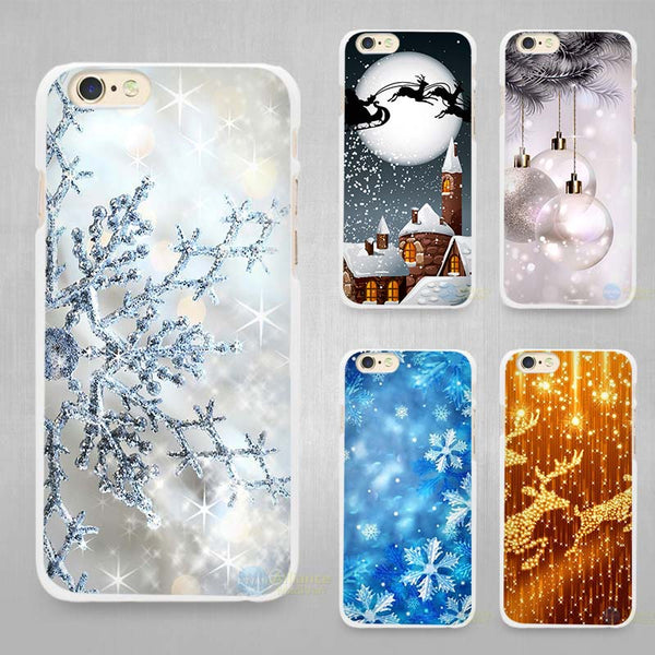 Merry Christmas Hard White Cell Phone Case Cover for Apple iPhone 4 4s 5 5C SE 5s 6 6s 7 8 Plus X