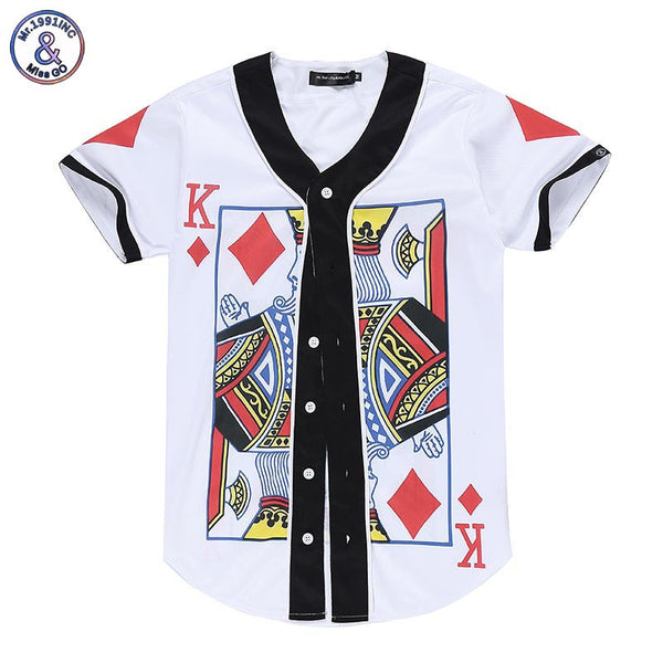 Men/women V-neck Short Sleeve Summer T-shirt Poker King  Funny Shirts With Buttons
