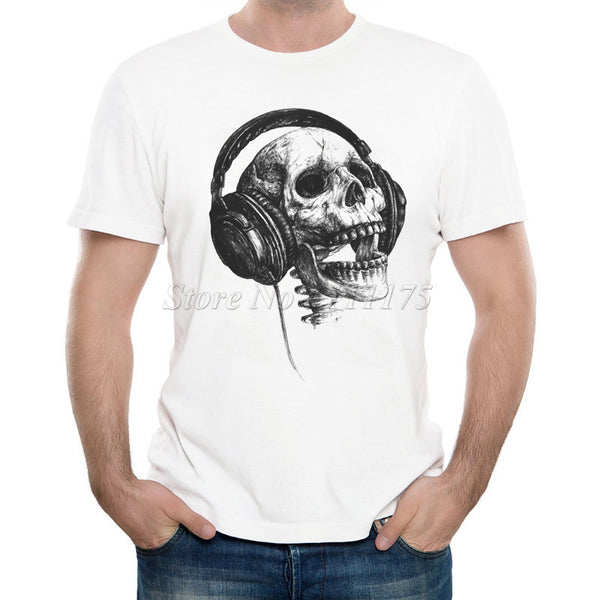 Music Skull Head Printed T Shirt Cool Summer Tops High Quality Casual Tee