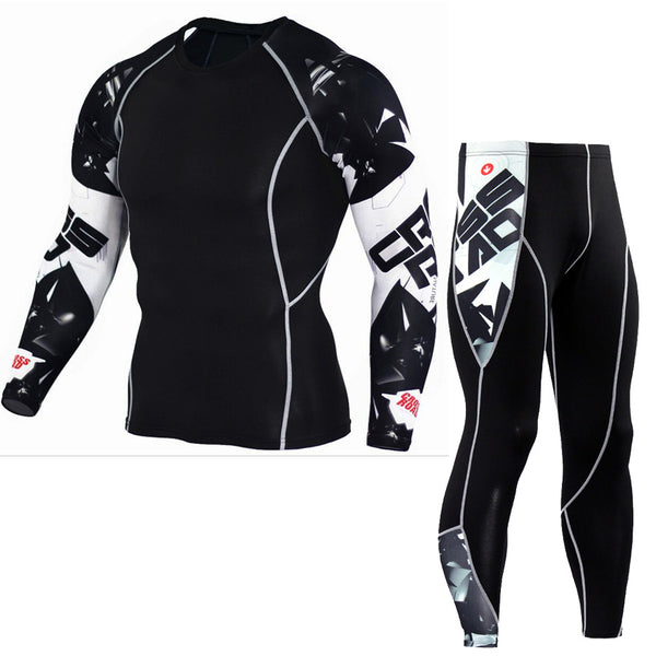Fitness Compression Sets Crossfit Muscle Shirt and Pant Set