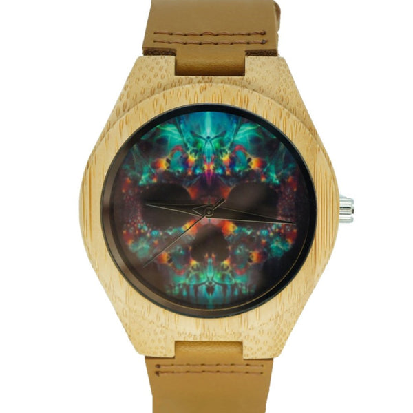 Limited Edition Tan Glow Face Skull Halloween Bamboo Watch Day OF The Dead