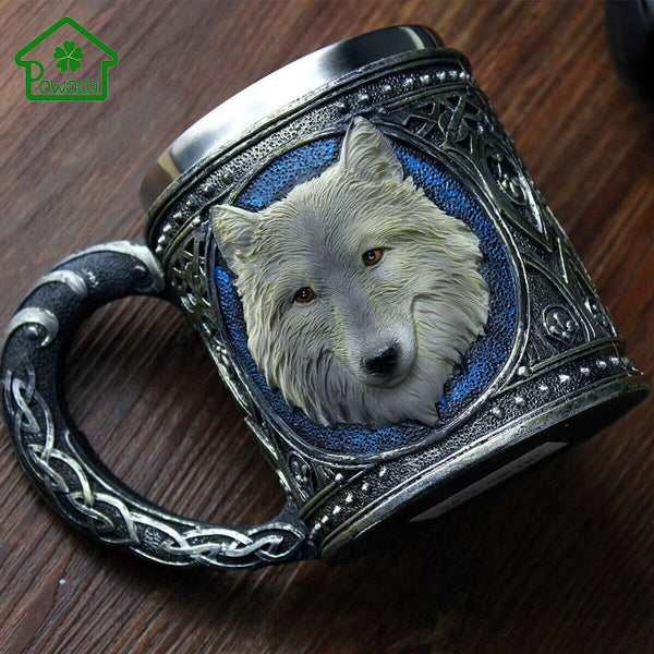 Retro Style 3D Wolf King Pattern Drinking Mugs Resin Stainless Steel