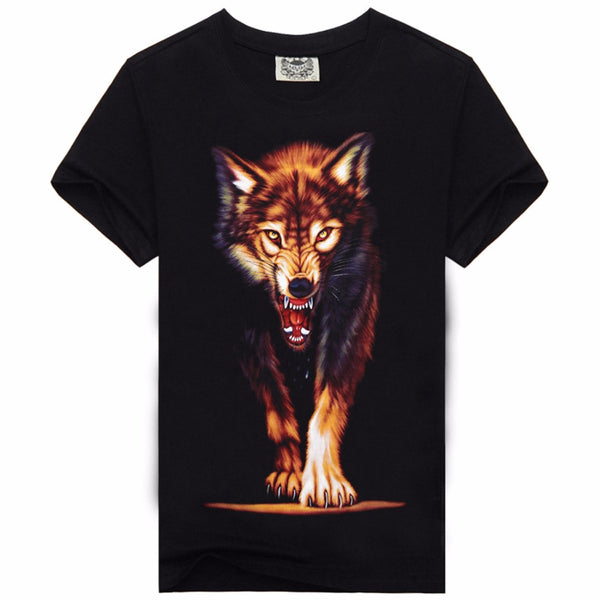 Black Cotton T-Shirt Cool Print Wolfs Design for Men