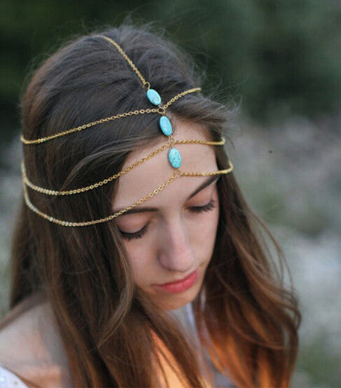 Sexy Blue Three Stone Head And Hair Jewelry - Ace Gift Shop