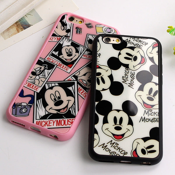 Iphone Sweetheart Mickey Minnie Mouse black Silicone Phone Cover Mirror Case