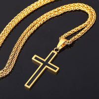 Stainless Steel Cross Pendant & Necklace For Men/Women Gold Color Chain Religious Christian