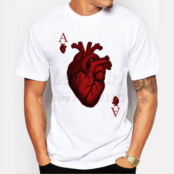 Ace OF HEART Men's T-Shirts Hipster O-neck cool tops