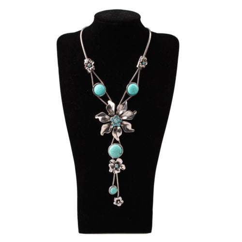 Sexy Flower Turquoise Necklace Pendant Blue Jewelry Women - Ace Gift Shop