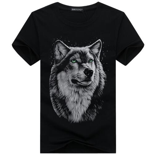 3D Wolf head T-shirt man round collar short sleeve