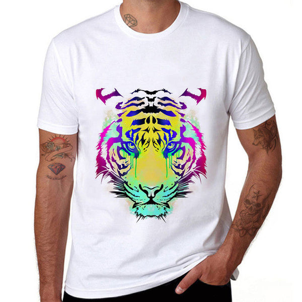 Mens Colorful Lion Brand Clothing Men Colorful Tiger T-Shirt Men
