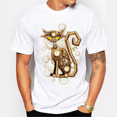 Men's Gold Cat Clock T-shirt - Ace Gift Shop