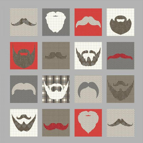 Hipster Beard & Mustache Quilt - Custom Quilts by Stitched