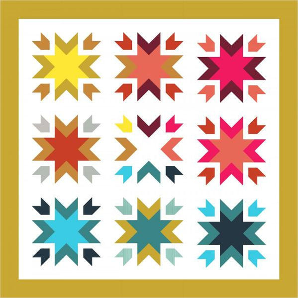 Snow Blossoms Geometric Quilt - Custom Quilts by Stitched