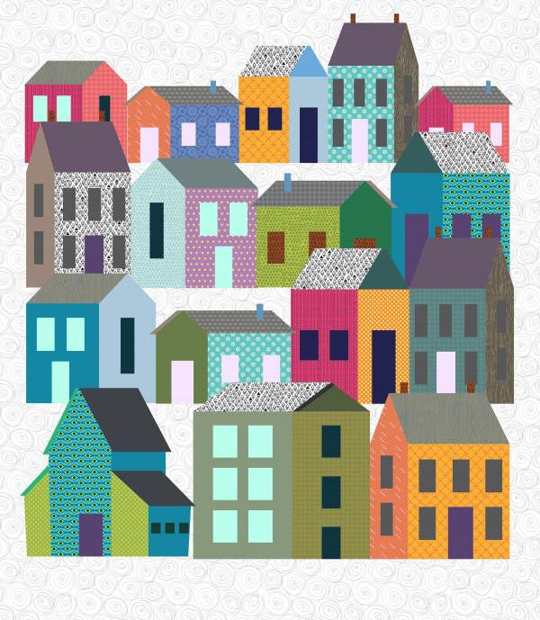 Home in the City - Rows of Houses Neighborhood Quilt - Custom Quilts by Stitched