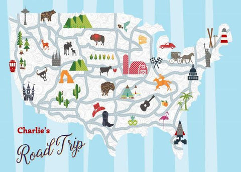Road Trip! - Customizable Map of America Quilt - Custom Quilts by Stitched