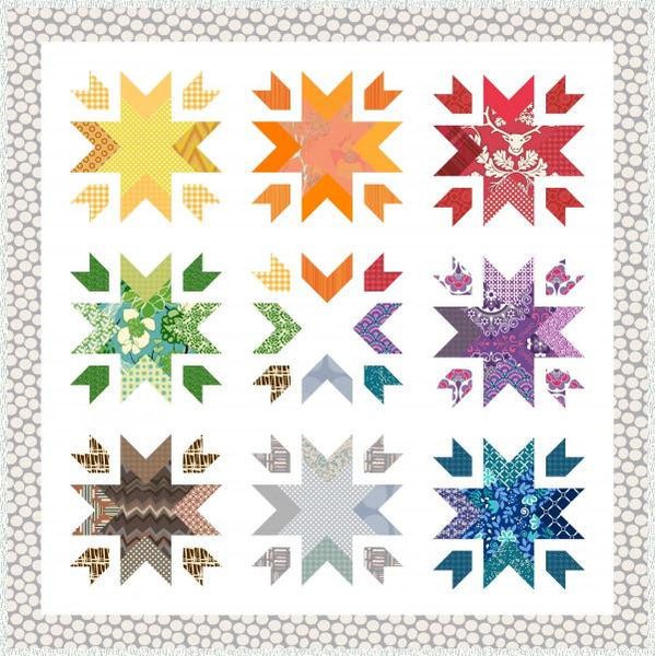 Snow Blossoms Geometric Quilt