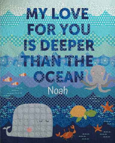 Ocean Quote Border - Custom Quilts by Stitched