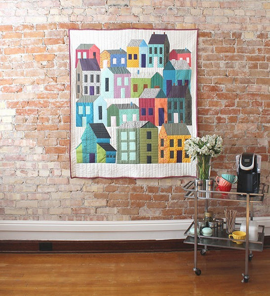 Home in the City - Rows of Houses Neighborhood Quilt - Custom Quilts by Stitched - Lifestyle