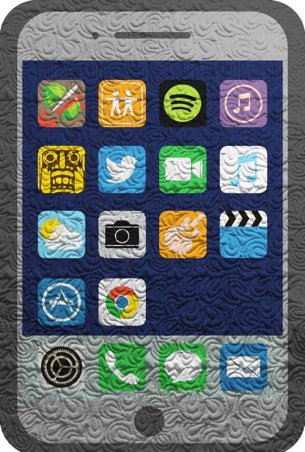 iPhone SmartPhone Quilt - with Apps - Custom Quilts by Stitched