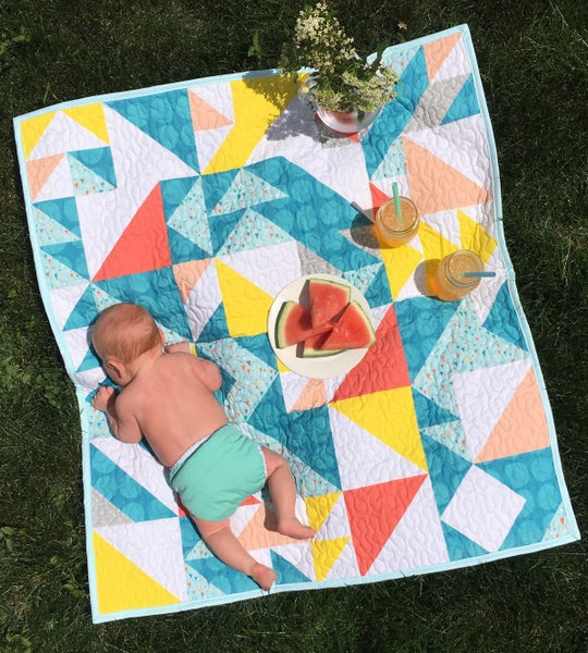 Triangles Geometric Modern Quilt - Custom Quilts by Stitched