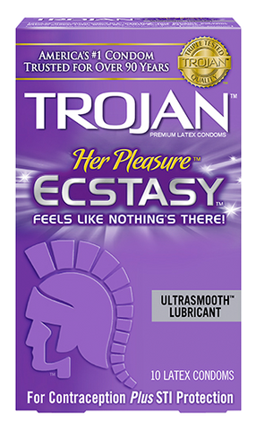 Trojan Her Pleasure Ecstasy Condoms - Allcondoms.com