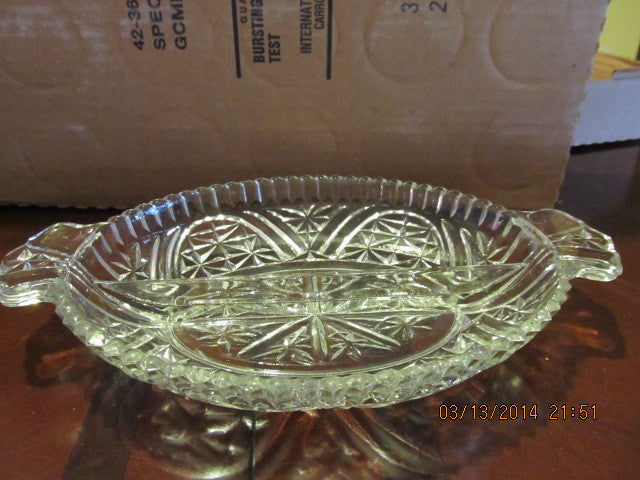 VINTAGE OVAL CRYSTAL RELISH DISH WITH HANDLES - Andres James Vintage Boutique - 1