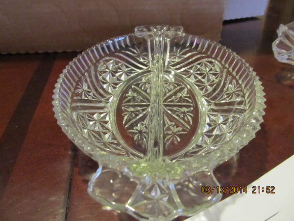 VINTAGE OVAL CRYSTAL RELISH DISH WITH HANDLES - Andres James Vintage Boutique - 2