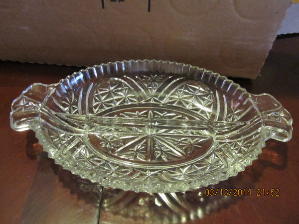 VINTAGE OVAL CRYSTAL RELISH DISH WITH HANDLES - Andres James Vintage Boutique - 3