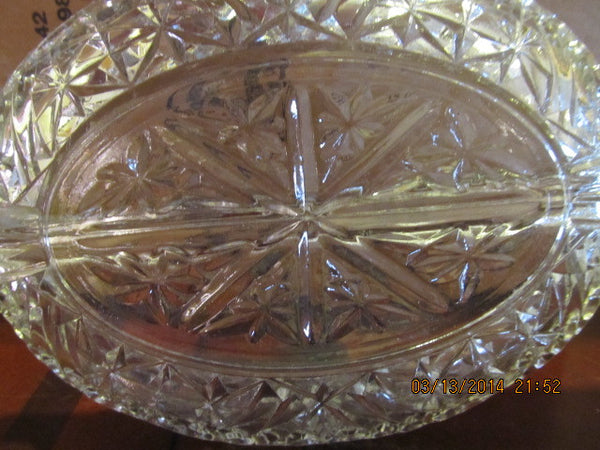 VINTAGE OVAL CRYSTAL RELISH DISH WITH HANDLES - Andres James Vintage Boutique - 4