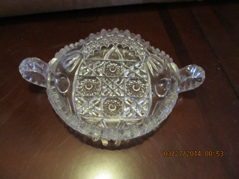 VINTAGE LEAD CRYSTAL CANDY DISH WITH DOUBLE HANDLES - Andres James Vintage Boutique - 1